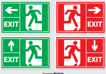Emergency Exit Sign Set - vector gratuit #302667