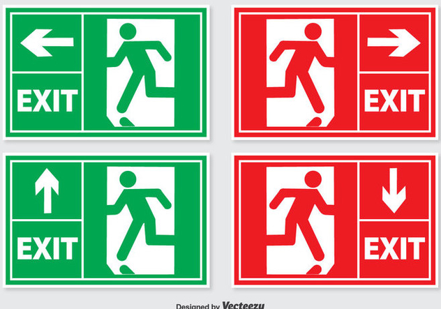 Emergency Exit Sign Set - Free vector #302667