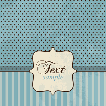 Blue Stripe Dots Vintage Card - vector gratuit #302737