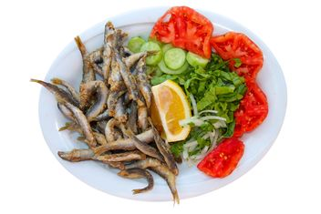 Fried Fish with Salad - Free image #302887
