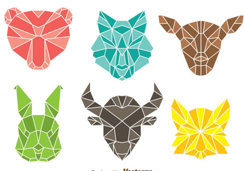 Vector Colorful Polygon Animal Head - Free vector #302977