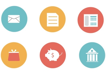 Modern flat financial icons vector - vector gratuit #303097