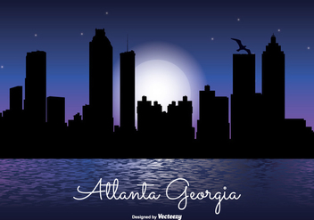 Atlanta Georgia Night Skyline Illustration - Kostenloses vector #303437