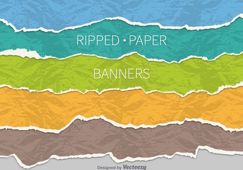 Ripped paper banners - бесплатный vector #303477
