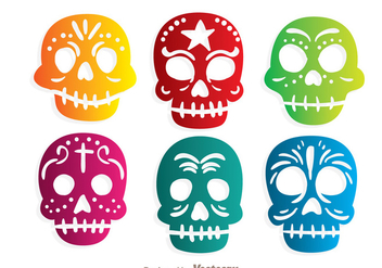 Colorful Ornamental Skulll Vectors - vector gratuit #303567