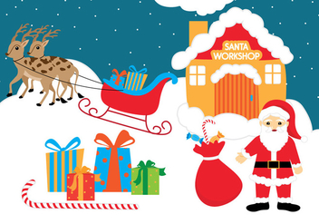 Santas Workshop Vector Background - бесплатный vector #303837