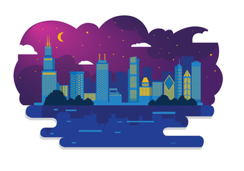 Chicago Skyline Night Vector - vector #303847 gratis