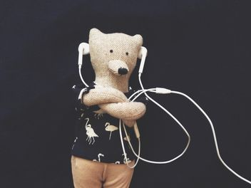 stylish teddy bear is listening to music - image gratuit #304107