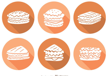 Sandwich Long Shadow Icons - vector #304177 gratis