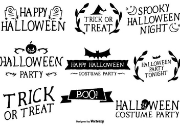 Hand Written Style Halloween Labels - Free vector #304207