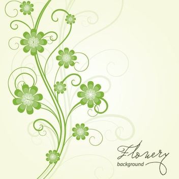 Green Swirling Floral Background - Free vector #304317