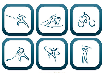 Sport Round Square Icons - Free vector #304367