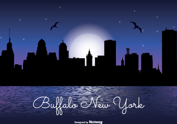 Buffalo New York Night Skyline - бесплатный vector #304427