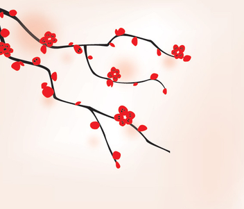 Oriental Flower Tree Background - vector #304437 gratis