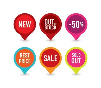 Colorful Sales Tag Set - Kostenloses vector #304817