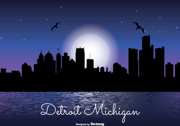 Detriot Michigan Night Skyline Illustration - Free vector #304887