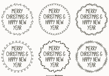 Cute Hand Drawn Style Christmas Labels - vector gratuit #304897
