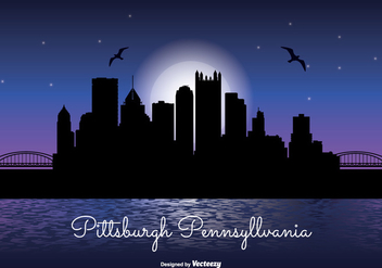 Pittsburgh Night Skyline Illustration - бесплатный vector #304937
