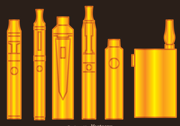 Vaporizer Gold Icons - бесплатный vector #304977