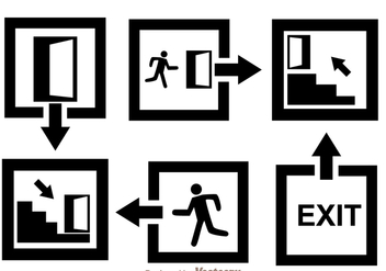 Black Exit Icons - Free vector #305097