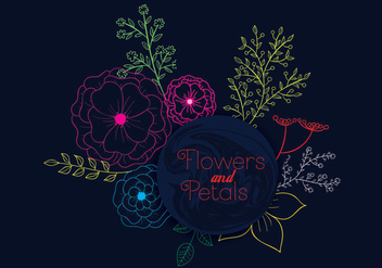 Flower and Petals - Kostenloses vector #305127