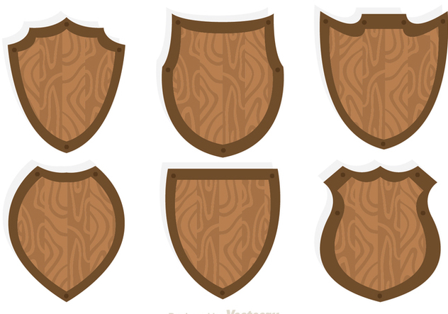 Wood Shield Icon Vectors - Free vector #305237