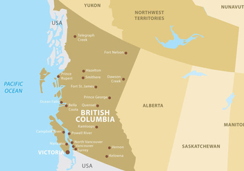 British Columbia Map - Free vector #305557