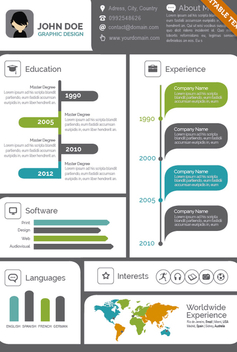 Creative Visual resume CV - Free vector #305647