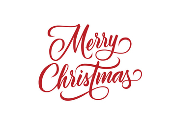 Merry Christmas Decorative Lettering Vector - vector gratuit #305787