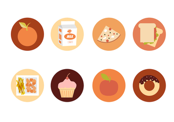 School Lunch Icons Free Vector - vector gratuit #305797