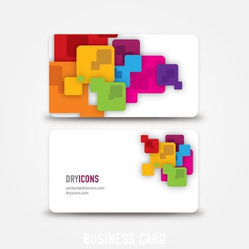 Colorful Squares Abstract Business Card - vector gratuit #305917