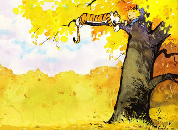 Calvin and Hobbes Relaxing in a Tree - Wallpaper - image gratuit #308467