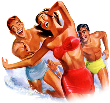 Portion of a vintage 1950s Jantzen bathing suit advertisement - image gratuit #314257