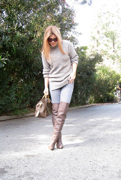 sweater and over the knee boots+taupe otk boots+louis vuitton bag+outfit - бесплатный image #314517