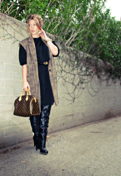 sleeveless coat with over the knee boots and vintage black dress+gold accessories - image #314537 gratis