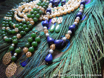 Fashion Jewelry Designer ~ Starlite Jewelry Designs ~ Vintage Jewelry ~ Lapis Pearls and Jade Necklace and Earrings with Vintage Filigree Accents - image #314667 gratis