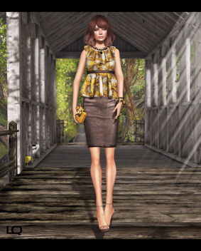 C88 July -The Secret Store - Elsa Ruffle Shirt - Sunflower & Milk Motion Clutch and JD - Lux Soes - бесплатный image #315697