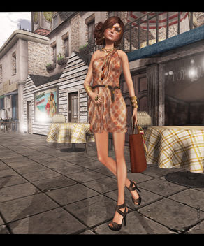 Overhigh - Bob Dress - Orange & Leverocci - Satin Wrap Heels-Brown - бесплатный image #315777