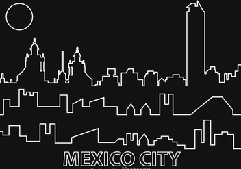 Mexico City Night Outline Vector - Free vector #317537