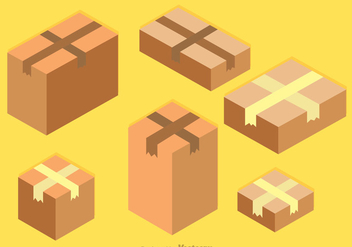 Isometric Cardboard Boxes Vector - vector gratuit #317627
