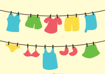 Clothes On Washing Line Vector - Free vector #317647