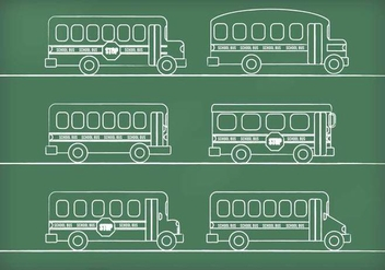 Chalk Drawn School Bus Vectors - Kostenloses vector #317667