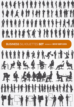 140 Business silhouettes collection - vector #317727 gratis