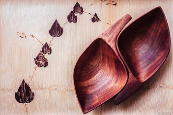 Wooden Tray & Wooden Leaf Bowls - Free image #324387