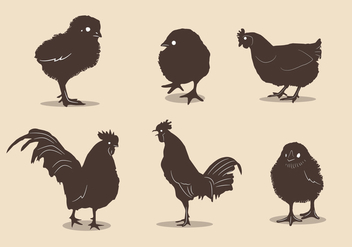 Chicken silhouette vectors - бесплатный vector #326567