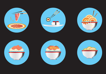 Oriental Food Icon Vectors - Free vector #326597