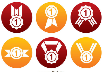 First Place Ribbon Circle Icons - vector #326657 gratis