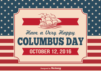 Vintage Columbus Day Illustration - бесплатный vector #327007