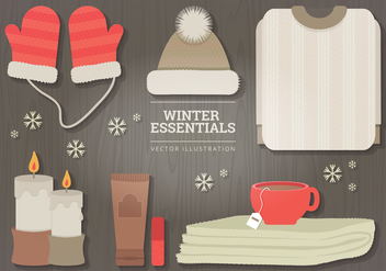 Winter Essentials Vector Illustration - Kostenloses vector #327037