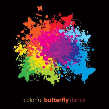 Colorful Ink Splashed Butterflies Design - Free vector #327187
